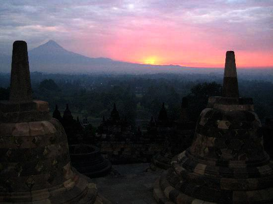 amazing to view  morning from the top of Borobudur temple