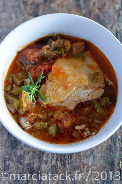 Cuisses de poulet à la Provençale - boite de tomates, poivrons aubergines