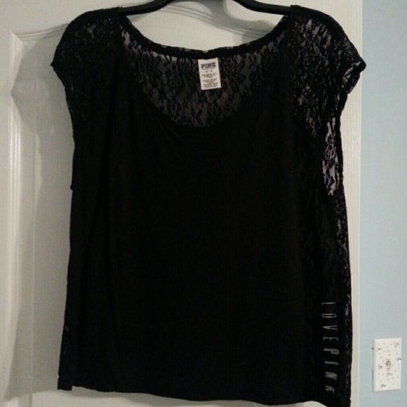 VS Pink Lace Top Black VS Pink lace top. Worn once. Perfect condition. No flaws. The back is completely lace. PINK Victoria's Secret Tops