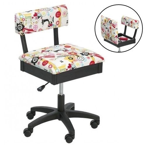Horn Gas Lift Storage Sewing Chair - White & Colour | Buy New Arrivals