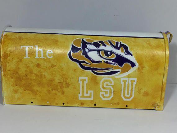 LSU tigers custom mailbox - Tiger mailbox - hand painted mailbox - ready to ship