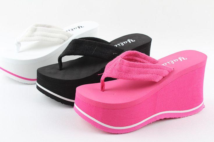 Envío gratis!! Toalla ultra plataforma de tacones altos flip flop zapatos de mujer plataforma cuñas paño playa flip zapatillas en Sandalias de Calzado en AliExpress.com   Alibaba Group