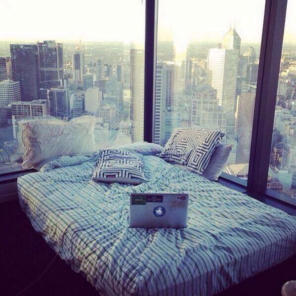 This is Chole's room. She lives in a big pent house overlooking LA.