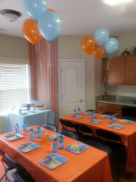Cute decorations...orange and blue...Bubble Guppies Birthday Party Ideas | Photo 1 of 14