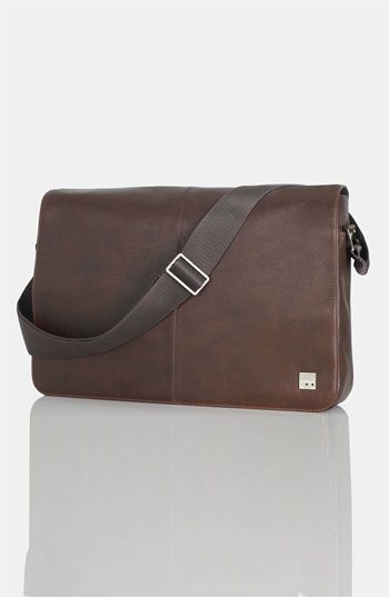 $325, Dark Brown Leather Messenger Bag: KNOMO London Bungo 17 Inch Messenger Bag Brown One Size. Sold by Nordstrom. Click for more info: https://lookastic.com/men/shop_items/142792/redirect
