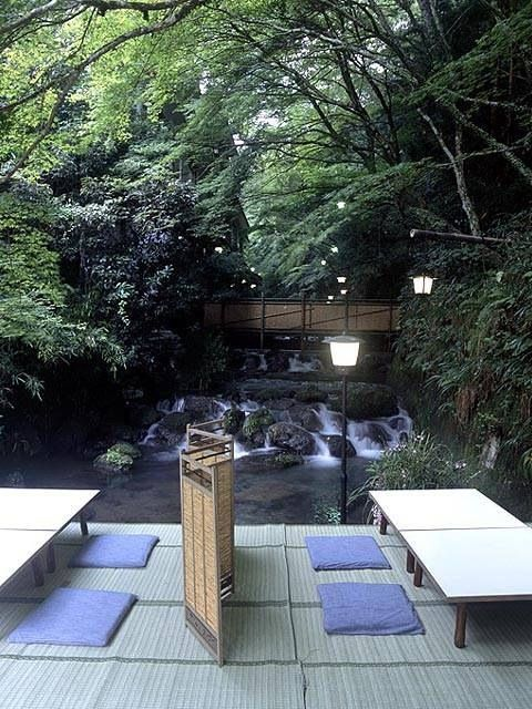 Kawadoko in Kyoto is the name for the restaurant situated on top of the river in summer,take a meal while listening to the sound of running water.  京都川床・貴船  My son just ate here--and I am insanely envious!