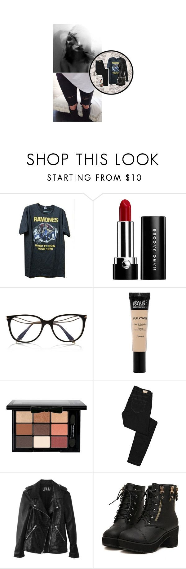 """Tenue #1073"" by amandine-bk ❤ liked on Polyvore featuring Marc Jacobs, Victoria Beckham, MAKE UP FOR EVER, NYX, Paige Denim, contest and bandtees"