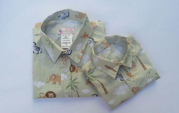 89d96e9a00 Camisa Safari tal pai tal filho no Elo7