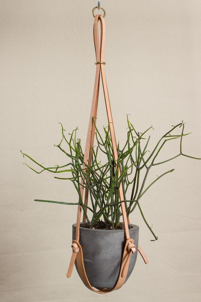 Long Leather Plant Hanger // would be a fun diy
