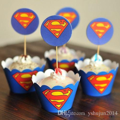 partido decorações evento cupcake wrappers superman, capitão américa cupCake toppers escolhas do aniversário dos miúdos partido fontes