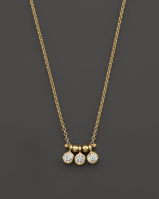Zoë Chicco 14K Yellow Gold and Diamond Bezel-Set 3 Necklace, .15 ct. t.w. | Bloomingdale's