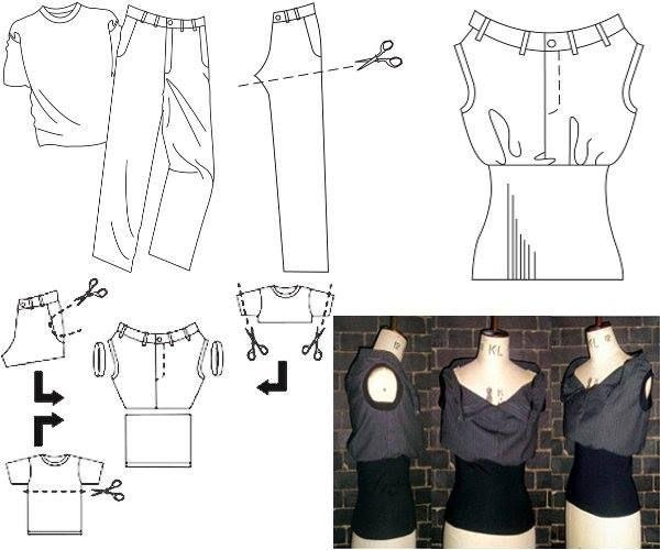 Reciclar Ropa Clothes jean denim t-shirt remera DIY craft