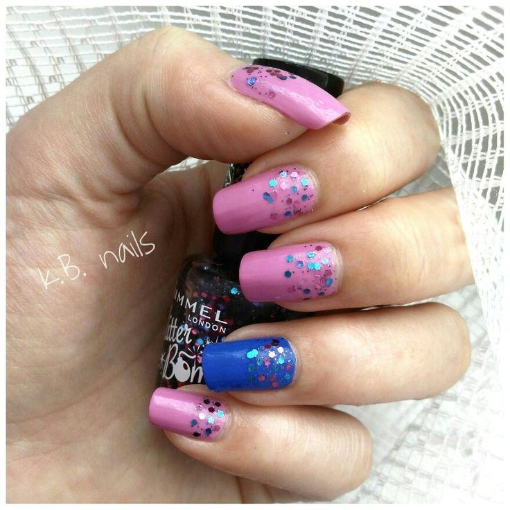 #nails #nailstagram #hmnailpolish #pinklilac #newyorkcolor #hudsonbreeze #rimmellondon #glitterbomb #bedazzle