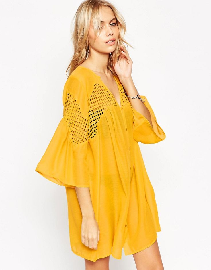 I'm in love with the deep ochre color of the V Neck Corded Lace Button Front Smock Beach Dress - get even more style and shopping inspiration on http://jojotastic.com/shop-my-favorites/