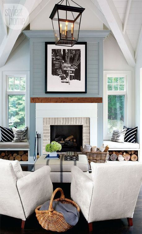 the lettered cottage Fireplace Makeover Update: Hearth, Frame and Blue-Gray Boards http://theletteredcottage.net/fireplace-makeover-update-hearth-frame-and-blue-gray-boards/ via bHome https://bhome.us