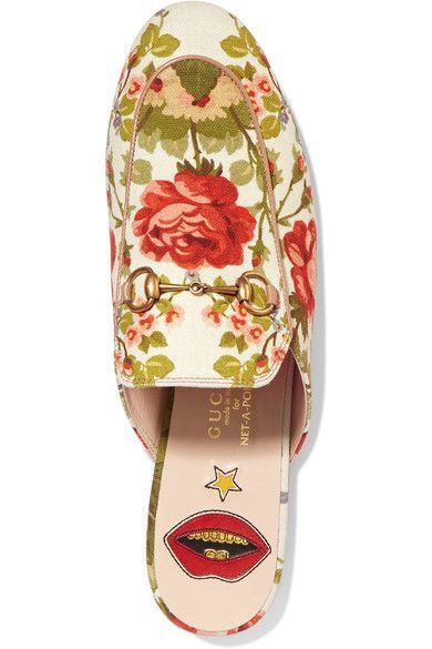Gucci for NET-A-PORTER - Horsebit-detailed Floral-print Canvas Slippers - Off-white - IT36.5