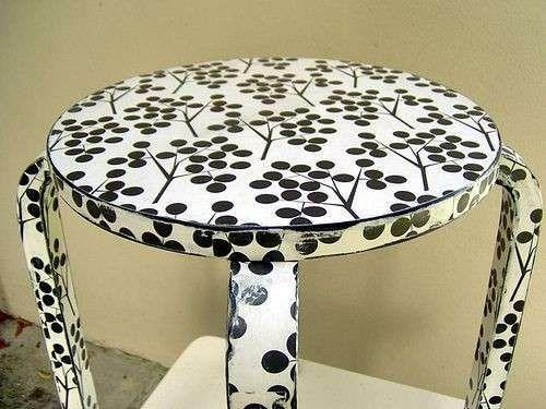 Tavoli decorati fai da te - Tavolo bianco e nero