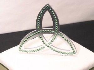 Celtic Knot Cake Topper. Solid Brushed Metal with Chrysolite Swarovski Crystals