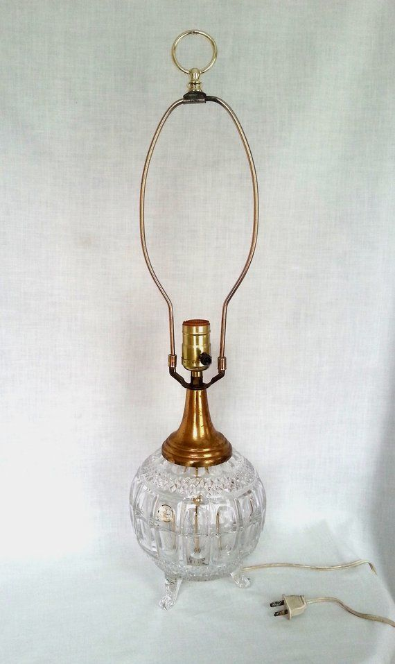 Vintage 24 Lead Crystal Clear Glass Electric Lamp Brass Accent 3 Feet Base 3 Way Table Lamp Hollywood Reg Hanging Pendant Lights Glass Lamp Shade Lead Crystal