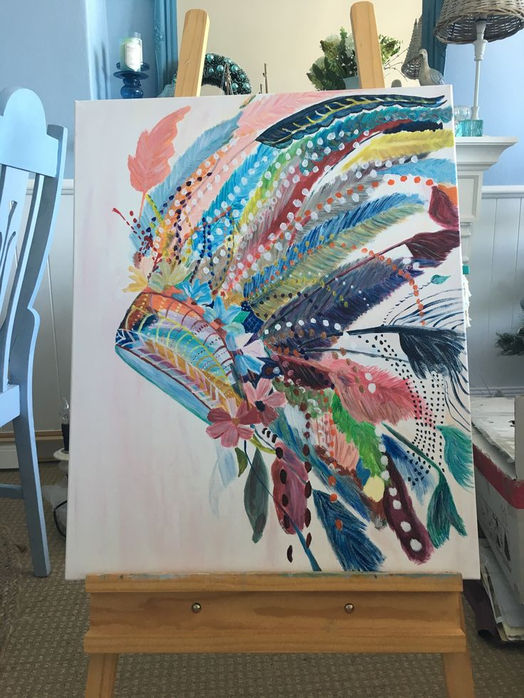 Indian feathers headdress painting I  finally finished. Took a long time with all the details!