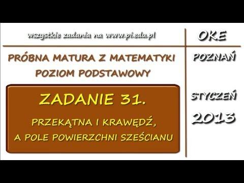 Zadanie 31. Matura próbna, styczeń 2013. PP [Stereometria]