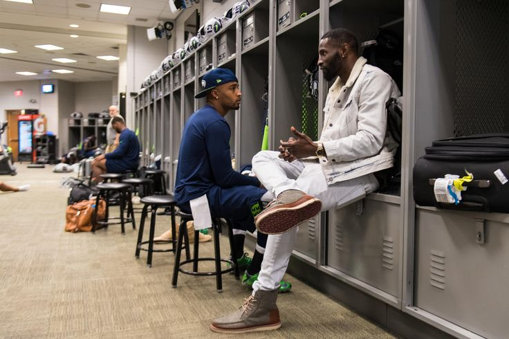 Ricardo Lockette visits with Baldwin before the Giants game 10/22/17-Team photographer Rod Mar shares exclusive behind-the-scenes images from the Seahawks' 24-7 win over the New York Giants during Week 7 at MetLife Stadium.
