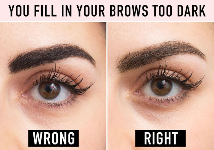 This can make you look like Groucho Marx's twin. The key to making your brows look darker but natural is not getting the formula you're using on your skin. If you have a bald spot you're trying to fill in, that's one thing, but if you're just trying to deepen your brow hair color, your best bet is a brow mascara that you can lightly swipe on for a more dramatic yet believable effect. Try L'Oréal Paris Brow Stylist Plumper Brow Gel Mascara. To see a full article on this technique, click here.