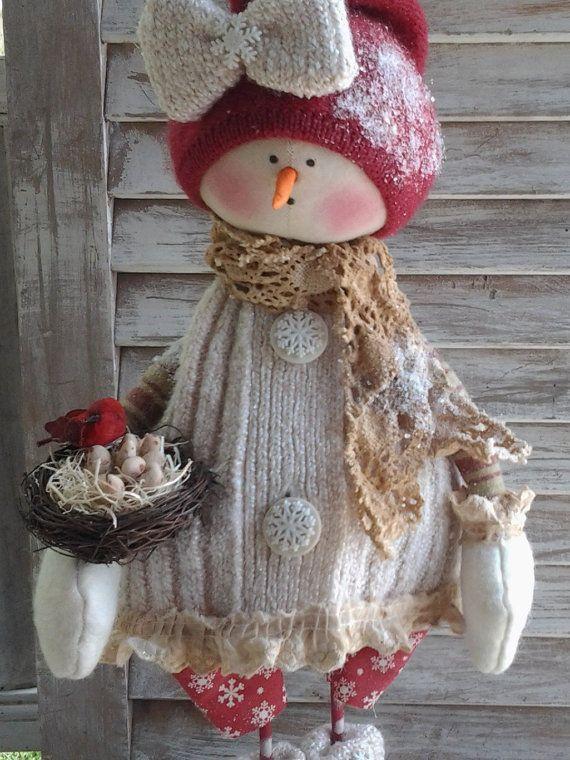 Primitive Pattern Primitive Christmas Snow Girl door CCCPrimitives
