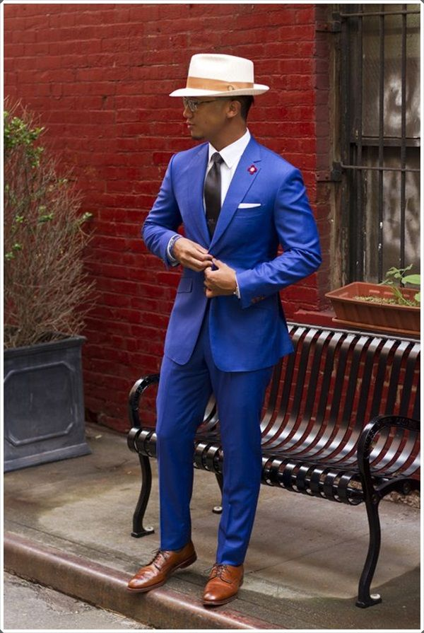 A fedora hat to go with your blue suit is just what you need.
