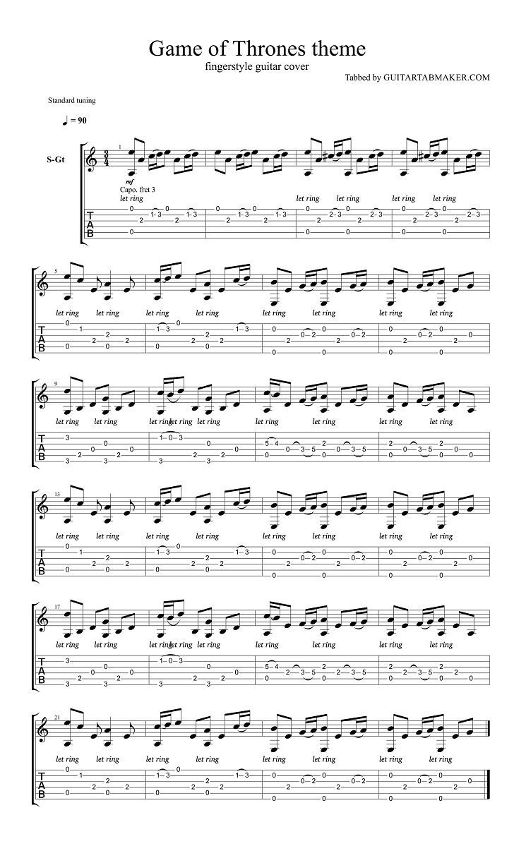 Game of Thrones theme acoustic fingerstyle guitar tab (free