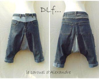 Eventails Sarouel court en wax et jean sarouel par DLFine sur Etsy