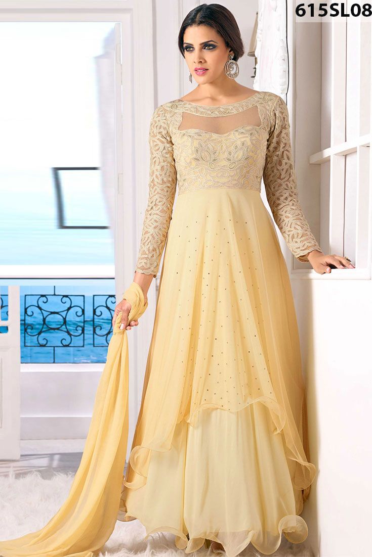 Cream net and georgette double layered #abaya style #kameez prettified with stone, resham embroidery work with fril pattern. Cream crape churidar and cream chiffon dupatta available with this. Price US $ 86