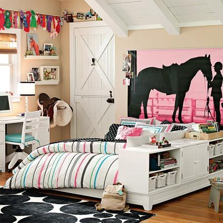 Perfect girls 39 room show horse gallery pottery barn for Barnyard wall mural