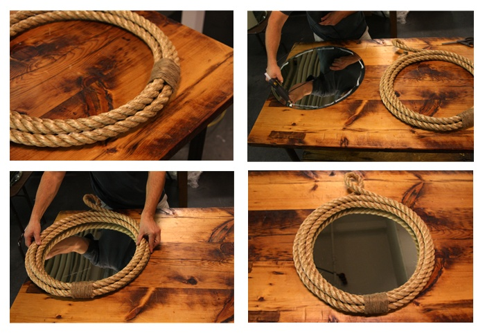 So doing this, make your own rope mirror.  Looks just like the one at pottery barn!