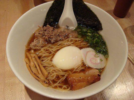 Bowl of Momofuku Ramen with pork belly and shredded shoulder @ Momofuku Noodle Bar, Lower East Side of NYC