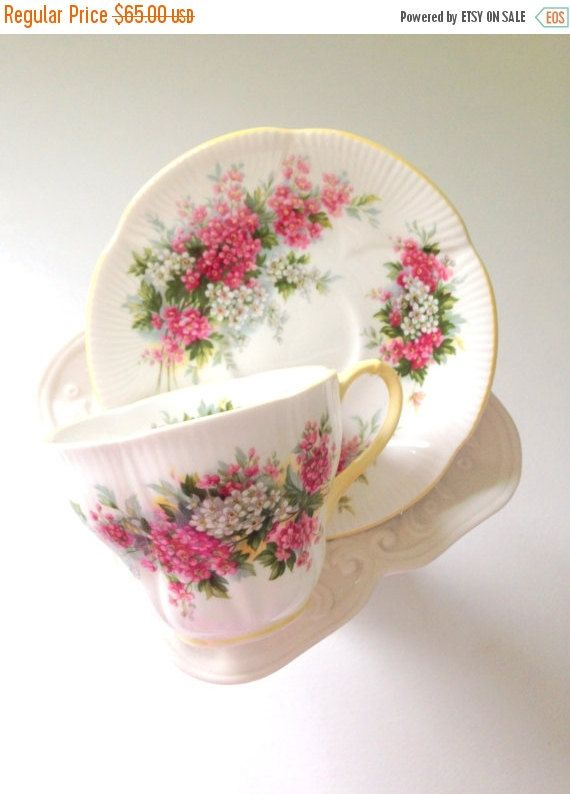 Thanksgiving Sale Vintage English Royal Albert Blossom Time Series Hawthorn Tea Cup and Saucer Tea Party
