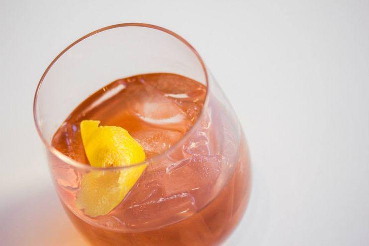 Cherry Lemon Drop - Beefeater gin, limoncello, fresh lemon juice, lemon zest, black cherry syrup — at O&B Canteen. #Toronto #restaurant #cocktails #food