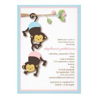 Twins, Boy & Girl Monkeys Baby Shower Invitation #twins #monkeys