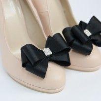 klipsy do butów czarne kokardy