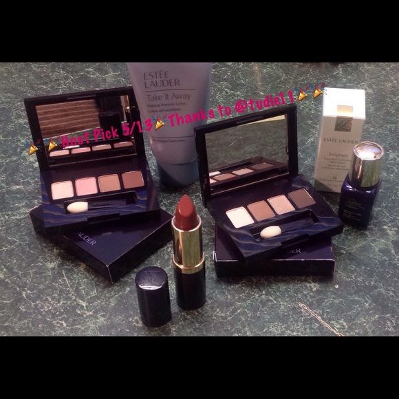 All Brand New & Unused Estée Lauder Bundle 5 Items All Brand New & Unused Bundle of 5 Very Popular Products. Includes 1 Pure Color Lipstick In Barely Nude Creme, 2 Eyeshadow Quads, A Deluxe Size Enlighten Dark Spot Correcting Serum & Take It All Away Makeup Remover!  ✨✨Guaranteed Authentic✨✨                                    ✨✨*~*~*SPECIAL*~*~*✨✨ You can help me choose a deluxe free gift with your purchase!  My Deluxe Free Gifts Are Something You Would Expect To Pay Money For!  But I…