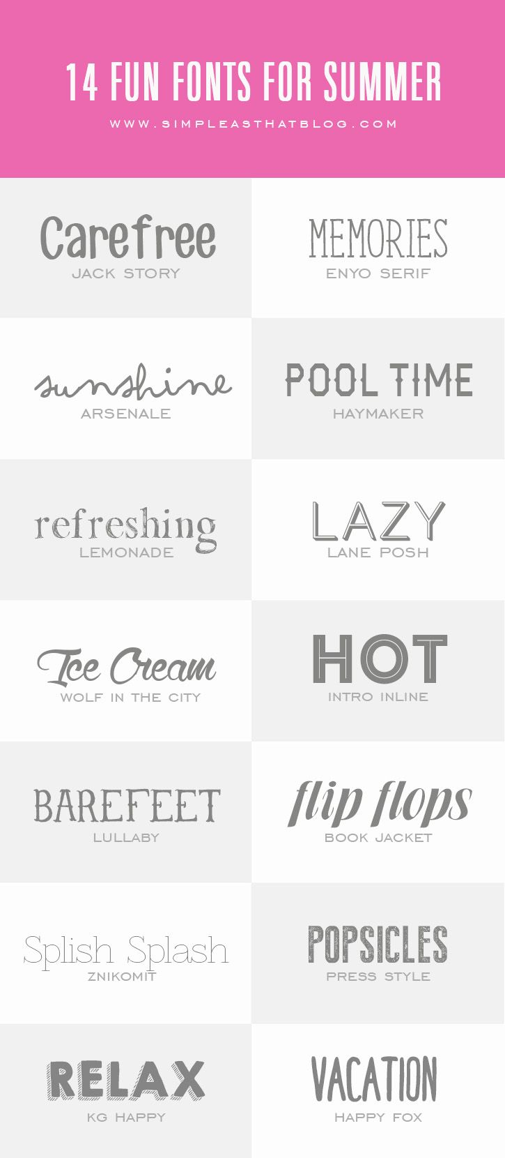 14 Fun Fonts for Summer - simple as that  ~~ {14 Free fonts w/ links}