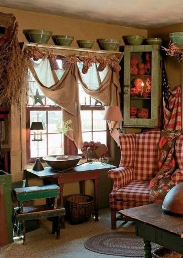 Primitive Decorating Is So Cozy Love How This Room Decorated