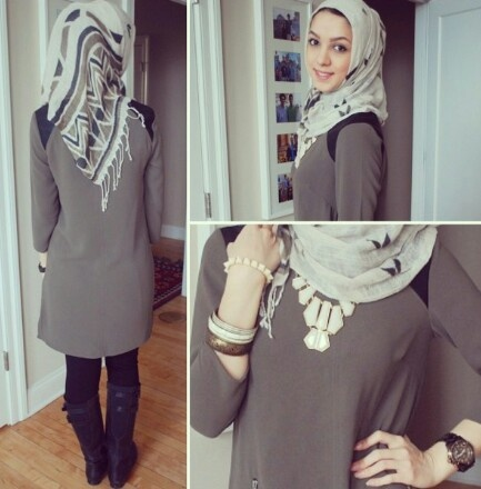Hijabi fashion--gray dress, printed scarf, and black boots