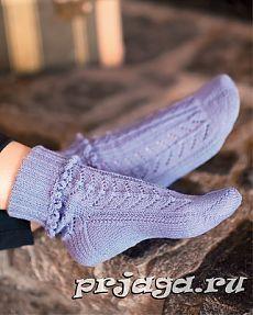 Ажурные носки спицами с рюшами