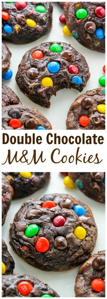 How good do these look?! Thick and chewy soft batch chocolate cookies loaded with rainbow M&Ms and gooey chocolate chips! #M&Ms #cookies #chocolate