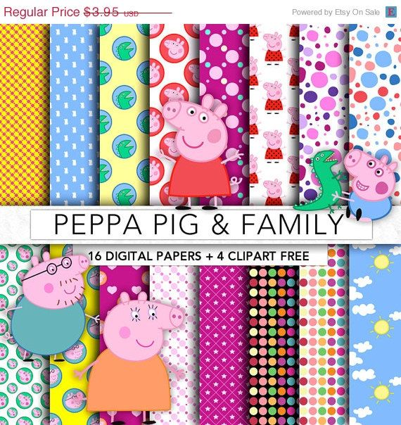 30% OFF Peppa Pig digital paper,Peppa Pig clipart,scrapbook,background,texture,printable party,Peppa Pig PP001