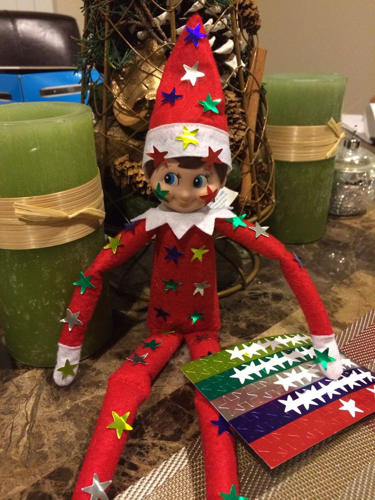 Elf on the Shelf gets covered in stickers!