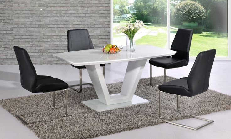 CONTEMPORARY V PILLAR WHITE HIGH GLOSS DINING TABLE WITH 4x BLACK CHAIRS,