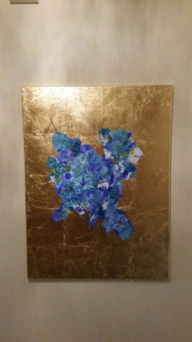 Goldleaf on canvas, liquid acrylic paint, painted with a hairdryer