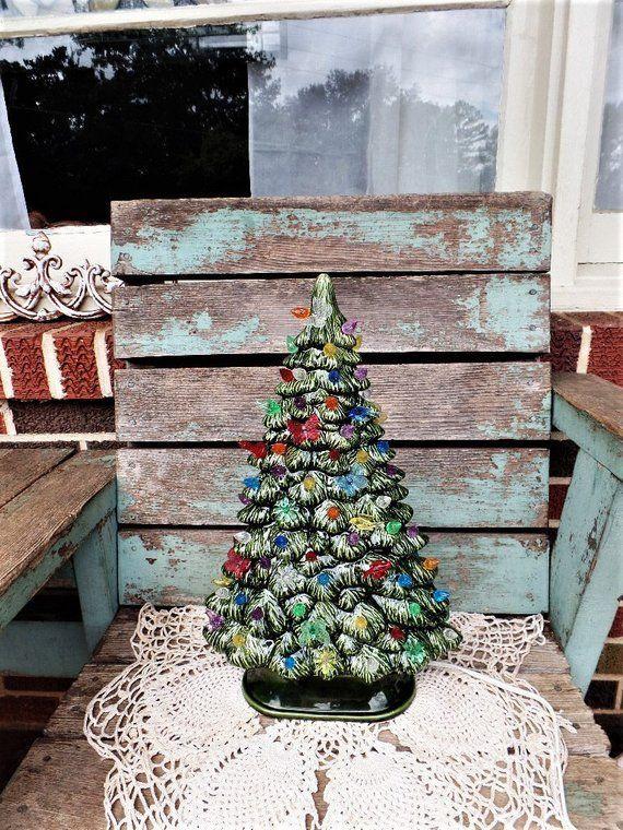 Vintage Keramik Weihnachtsbaum Licht Beleuchtet Fensterbrett Baum